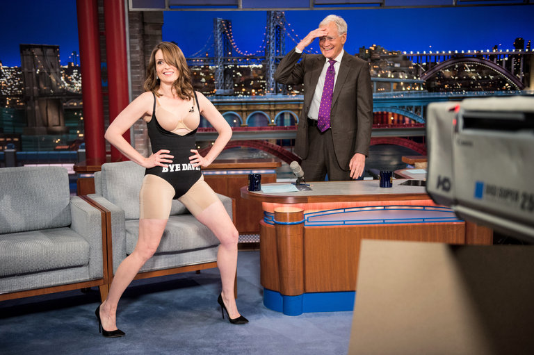 "Tina Fey revealed her shapewear on the ""Late Show With David Letterman.""Credit John Paul Filo/CBS, via Getty Images"