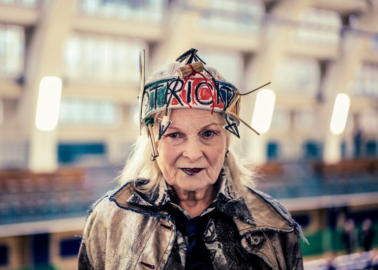 Vivienne Westwood at her unisex show on Monday during London Fashion Week Men's.