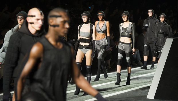 Models walk the runway during the Alexander Wang x H&M collection launch event on Thursday, Oct. 16, 2014 in New York. (Photo by Charles Sykes/Invision/AP)