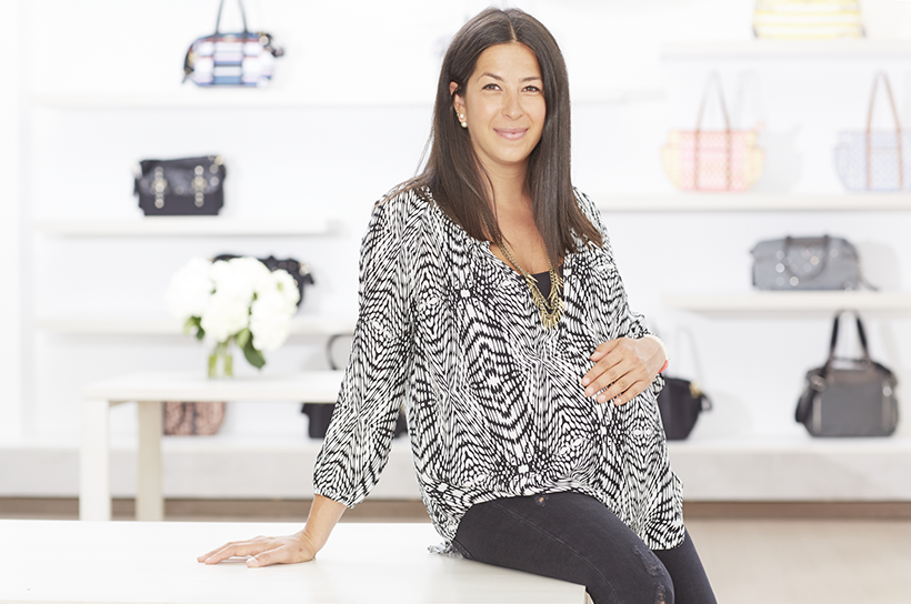 Rebecca Minkoff wearing her Rebecca Minkoff/A Pea In The Pod Collection Long-Sleeve Maternity Shirt